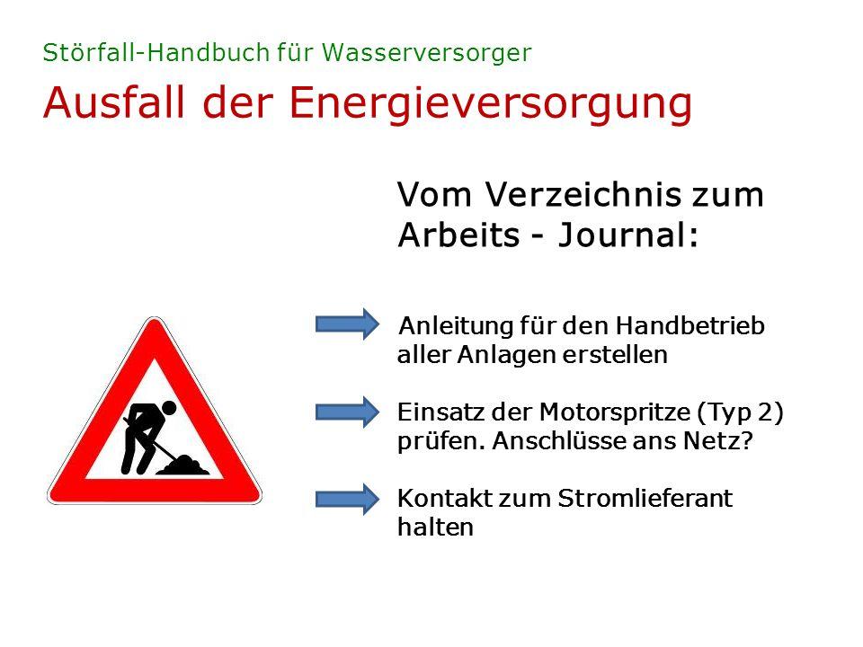 Ausfall der Energieversorgung Störfall-Handbuch für Wasserversorger Vom Verzeichnis zum Arbeits - Journal: Anleitung für den Handbetrieb aller Anlagen