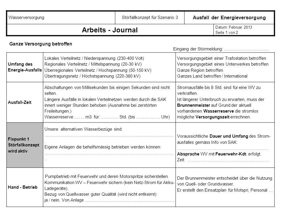 WasserversorgungStörfallkonzept für Szenario 3 Ausfall der Energieversorgung Arbeits - Journal Datum: Februar 2013 Seite 1 von 2 Umfang des Energie-Au
