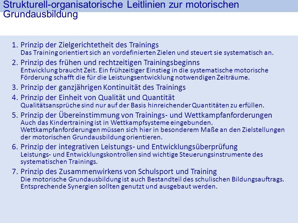 Strukturell-organisatorische Leitlinien zur motorischen Grundausbildung 1.Prinzip der Zielgerichtetheit des Trainings Das Training orientiert sich an