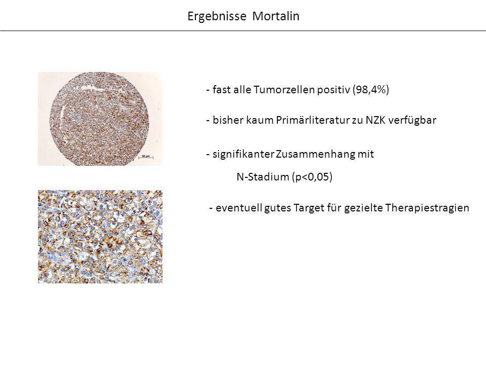 - fast alle Tumorzellen positiv (98,4%) Ergebnisse Mortalin - signifikanter Zusammenhang mit N-Stadium (p<0,05) - bisher kaum Primärliteratur zu NZK v