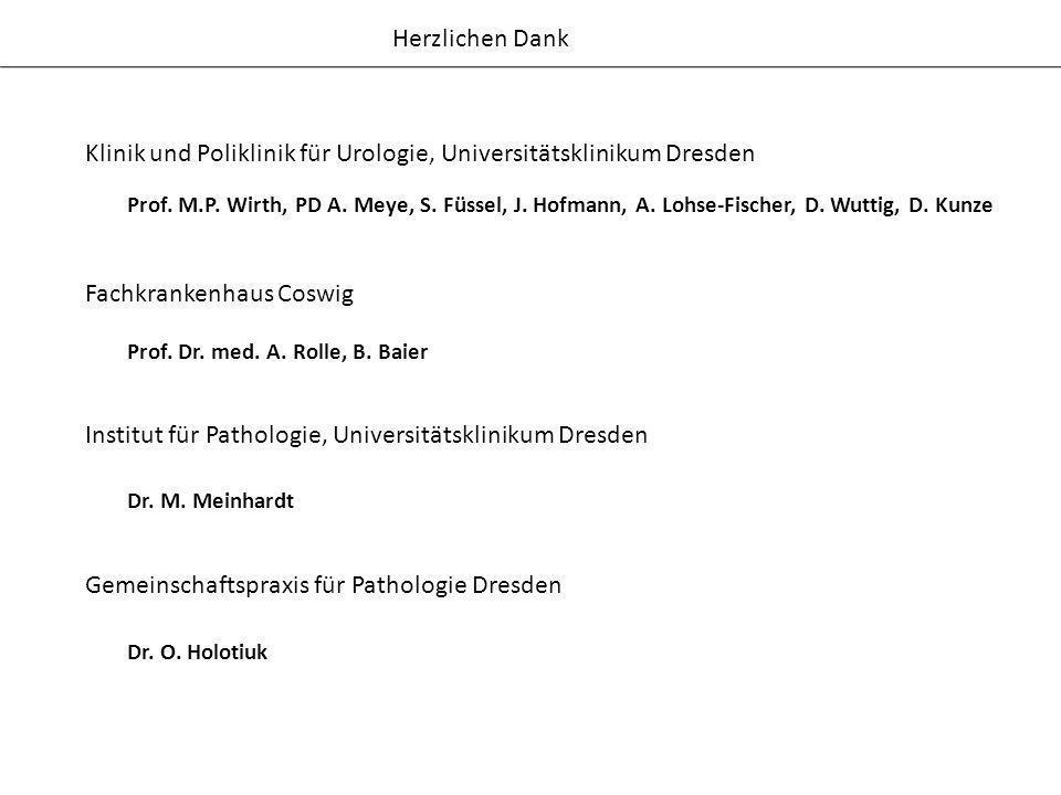 Herzlichen Dank Klinik und Poliklinik für Urologie, Universitätsklinikum Dresden Prof. M.P. Wirth, PD A. Meye, S. Füssel, J. Hofmann, A. Lohse-Fischer