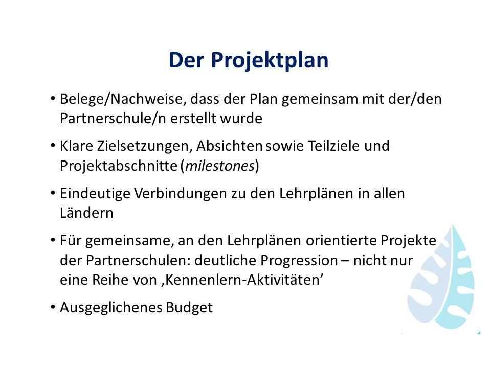 Der Projektplan Belege/Nachweise, dass der Plan gemeinsam mit der/den Partnerschule/n erstellt wurde Klare Zielsetzungen, Absichten sowie Teilziele un