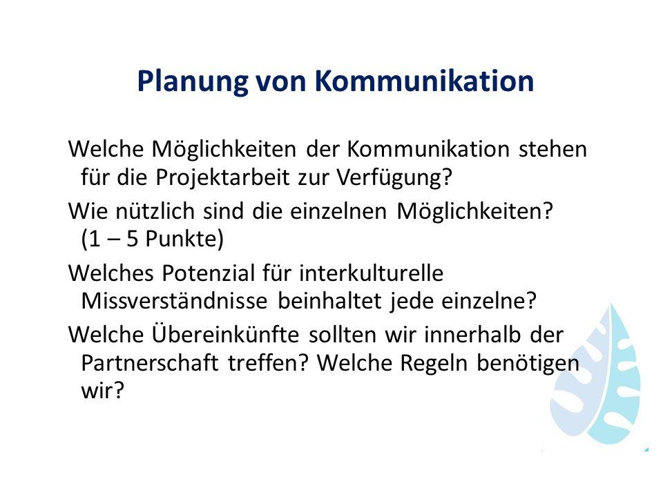 Planung von Kommunikation Welche Möglichkeiten der Kommunikation stehen für die Projektarbeit zur Verfügung? Wie nützlich sind die einzelnen Möglichke