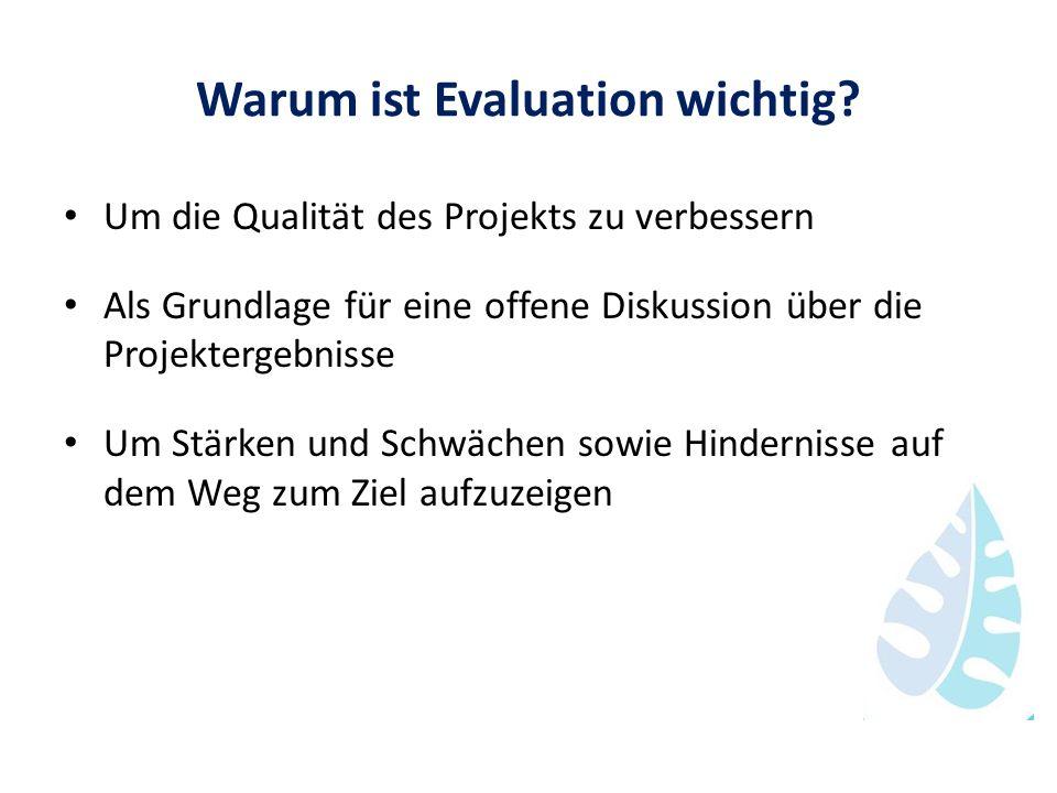 Warum ist Evaluation wichtig? Um die Qualität des Projekts zu verbessern Als Grundlage für eine offene Diskussion über die Projektergebnisse Um Stärke