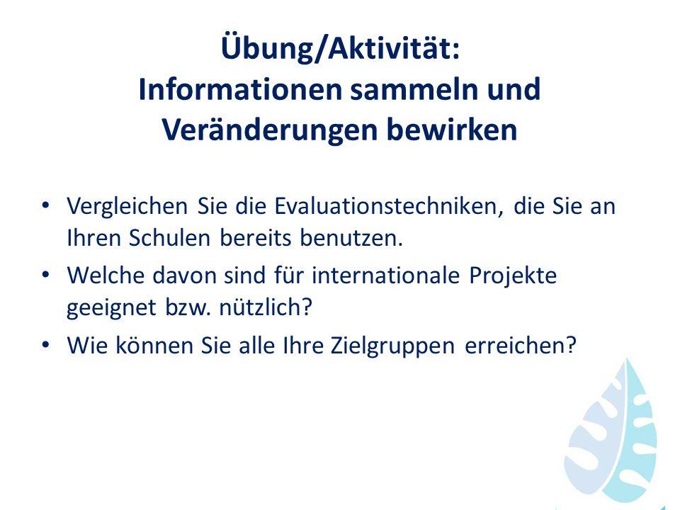 Übung/Aktivität: Informationen sammeln und Veränderungen bewirken Vergleichen Sie die Evaluationstechniken, die Sie an Ihren Schulen bereits benutzen.