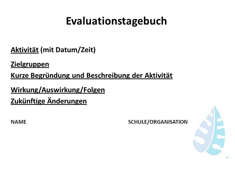 Evaluationstagebuch Aktivität (mit Datum/Zeit) Zielgruppen Kurze Begründung und Beschreibung der Aktivität Wirkung/Auswirkung/Folgen Zukünftige Änderu
