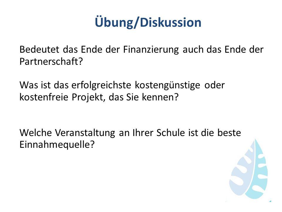 Übung/Diskussion Bedeutet das Ende der Finanzierung auch das Ende der Partnerschaft? Was ist das erfolgreichste kostengünstige oder kostenfreie Projek