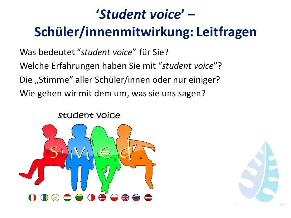 Student voice – Schüler/innenmitwirkung: Leitfragen Was bedeutet student voice für Sie? Welche Erfahrungen haben Sie mit student voice? Die Stimme all