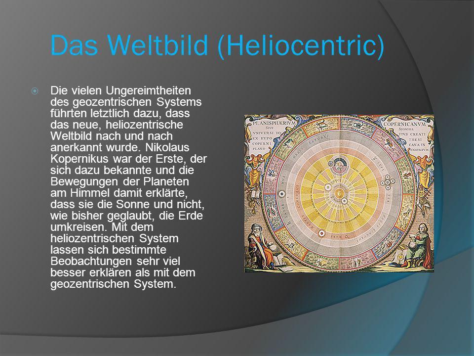 Das Weltbild (Heliocentric) Die vielen Ungereimtheiten des geozentrischen Systems führten letztlich dazu, dass das neue, heliozentrische Weltbild nach und nach anerkannt wurde.