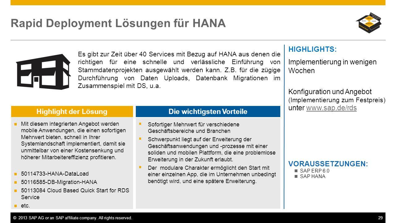 ©2013 SAP AG or an SAP affiliate company. All rights reserved.29 Rapid Deployment Lösungen für HANA Es gibt zur Zeit über 40 Services mit Bezug auf HA