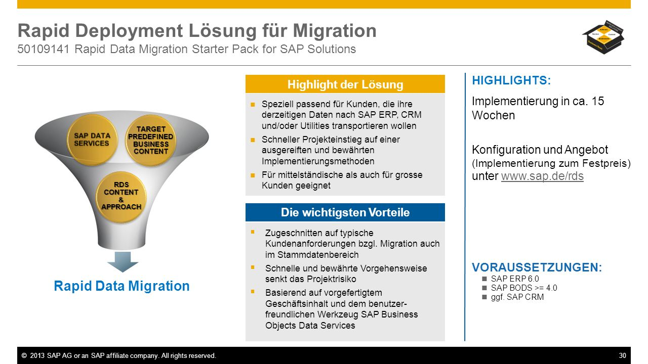 ©2013 SAP AG or an SAP affiliate company. All rights reserved.30 Rapid Deployment Lösung für Migration 50109141 Rapid Data Migration Starter Pack for