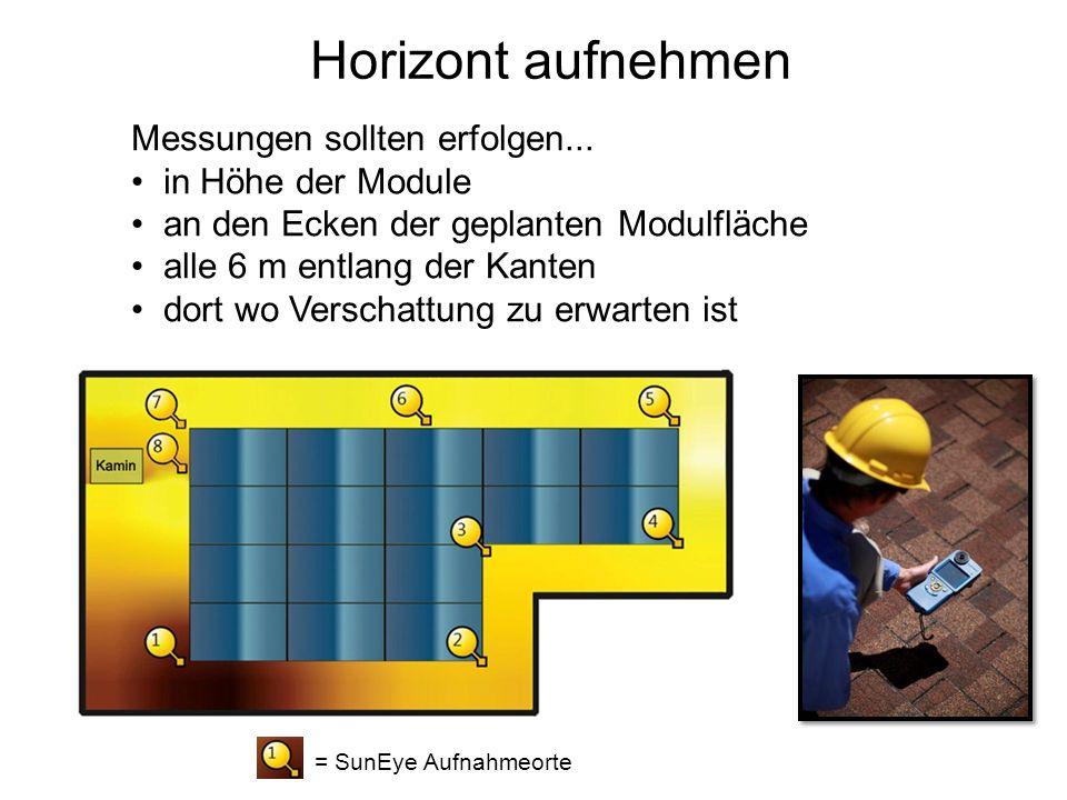 Messungen sollten erfolgen... in Höhe der Module an den Ecken der geplanten Modulfläche alle 6 m entlang der Kanten dort wo Verschattung zu erwarten i