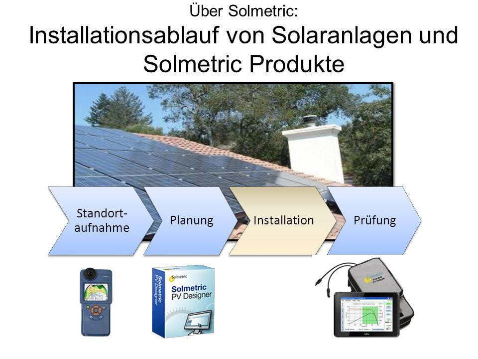 Über Solmetric: Installationsablauf von Solaranlagen und Solmetric Produkte Installation Planung Standort- aufnahme Prüfung