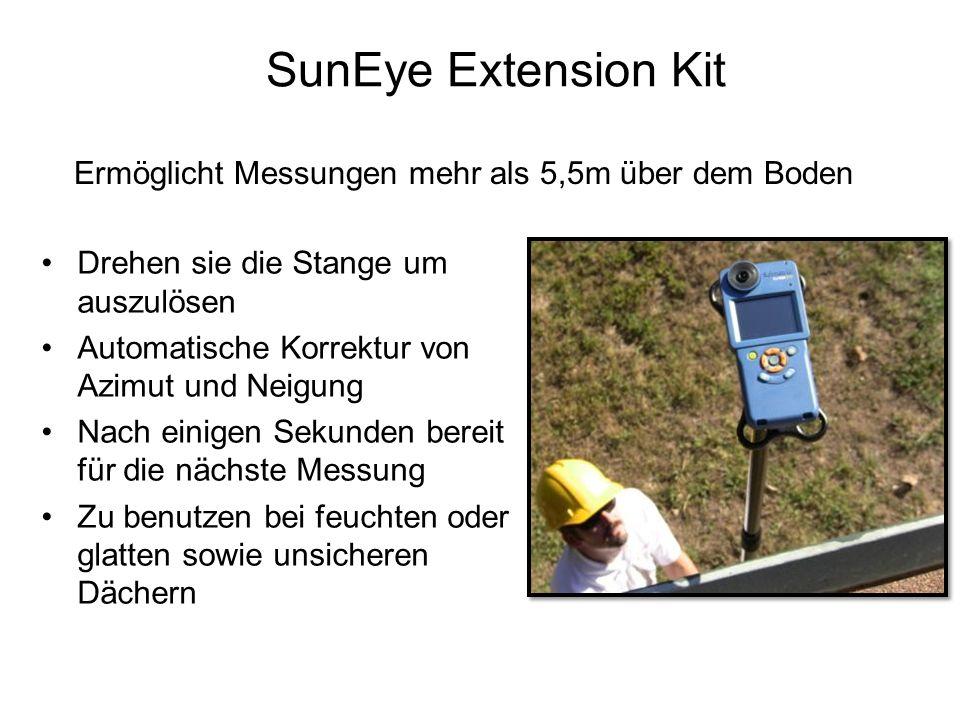 SunEye Extension Kit Drehen sie die Stange um auszulösen Automatische Korrektur von Azimut und Neigung Nach einigen Sekunden bereit für die nächste Me