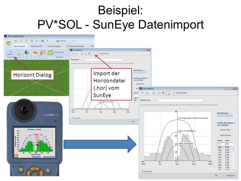 Beispiel: PV*SOL - SunEye Datenimport Import der Horizondatei (.hor) vom SunEye Horizont Dialog