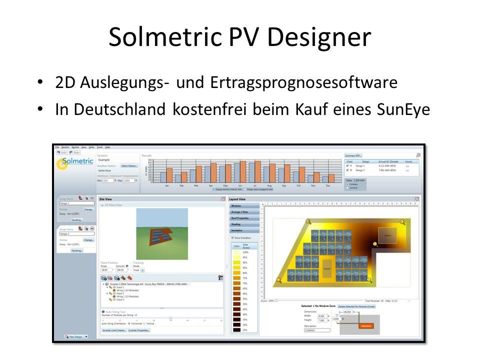 Solmetric PV Designer 2D Auslegungs- und Ertragsprognosesoftware In Deutschland kostenfrei beim Kauf eines SunEye