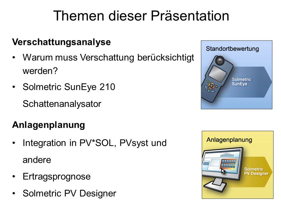 Themen dieser Präsentation Verschattungsanalyse Warum muss Verschattung berücksichtigt werden? Solmetric SunEye 210 Schattenanalysator Anlagenplanung
