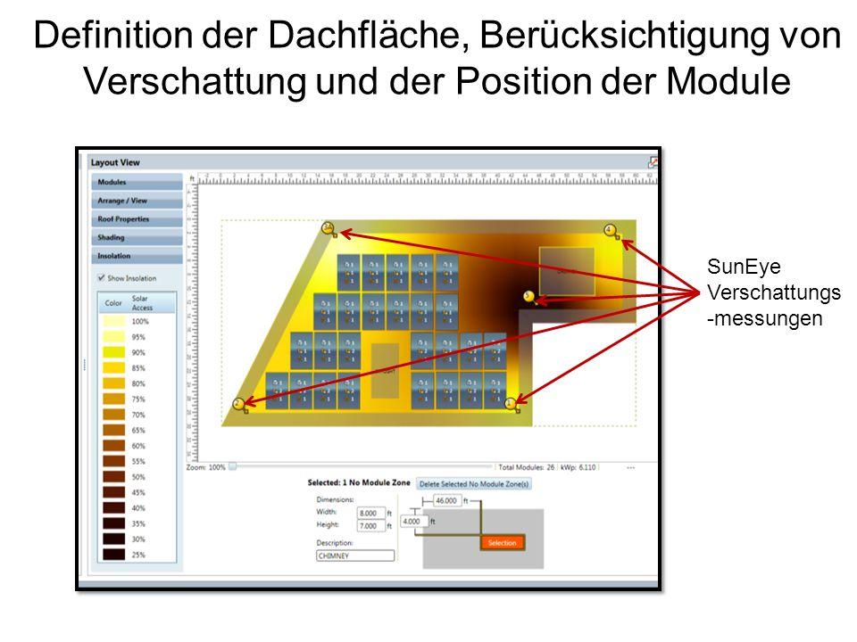 Definition der Dachfläche, Berücksichtigung von Verschattung und der Position der Module SunEye Verschattungs -messungen