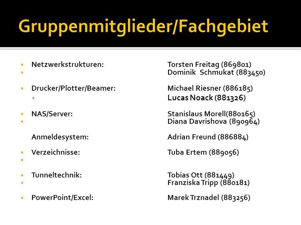 Netzwerkstrukturen: Torsten Freitag (869801) Dominik Schmukat (883450) Drucker/Plotter/Beamer:Michael Riesner (886185) Lucas Noack (881326) NAS/Server