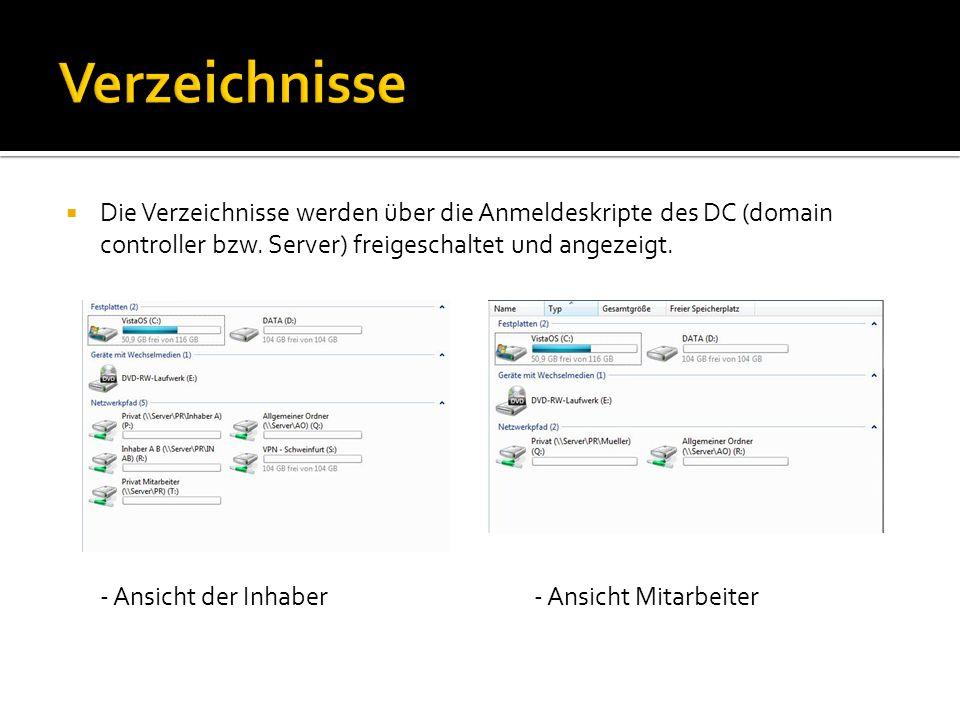Die Verzeichnisse werden über die Anmeldeskripte des DC (domain controller bzw. Server) freigeschaltet und angezeigt. - Ansicht der Inhaber- Ansicht M