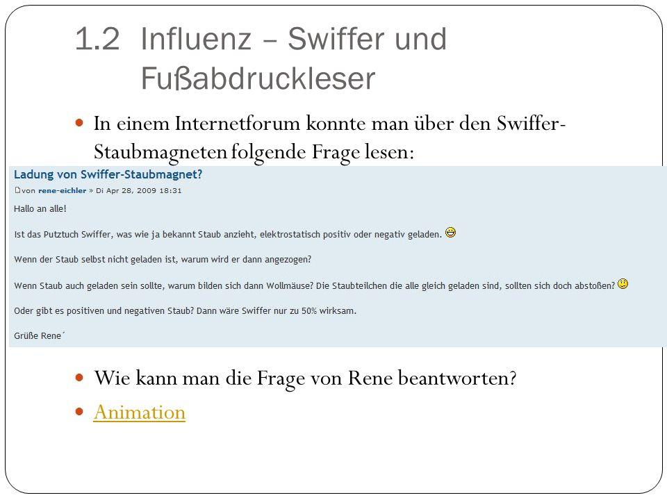 1.2Influenz – Swiffer und Fußabdruckleser In einem Internetforum konnte man über den Swiffer- Staubmagneten folgende Frage lesen: Wie kann man die Fra