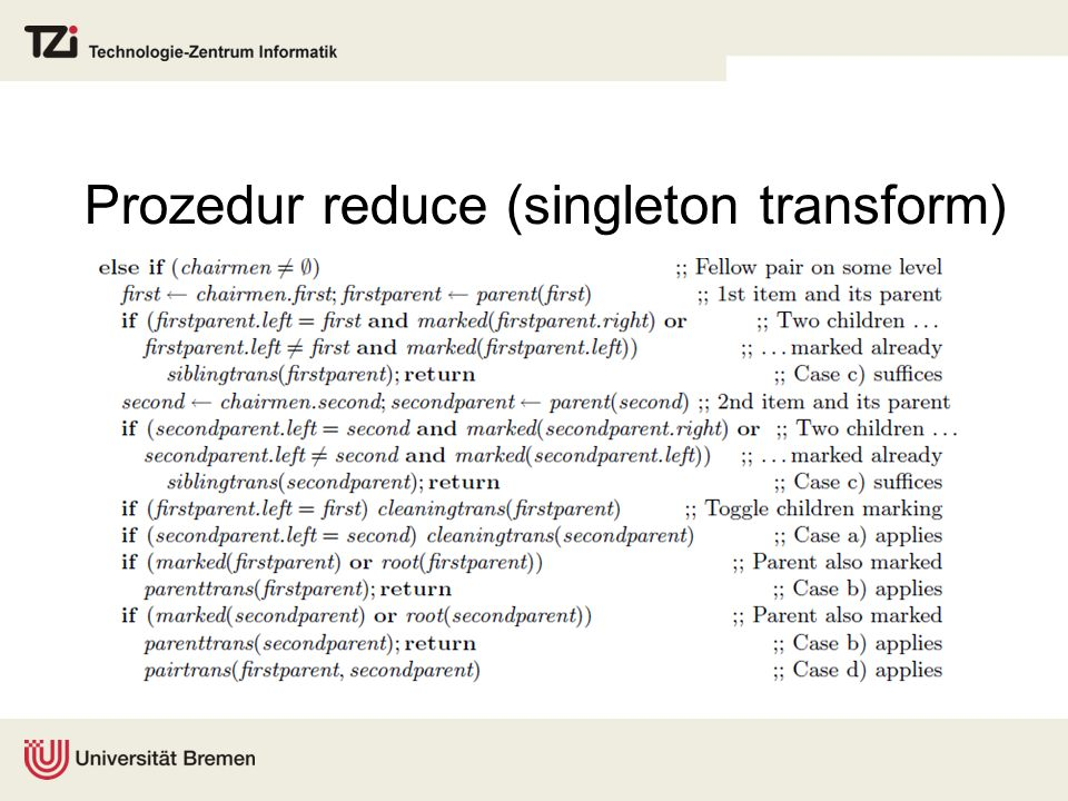 Prozedur reduce (singleton transform)
