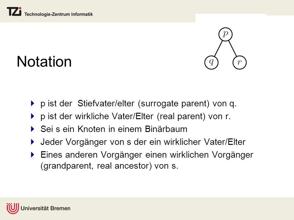 Notation p ist der Stiefvater/elter (surrogate parent) von q.