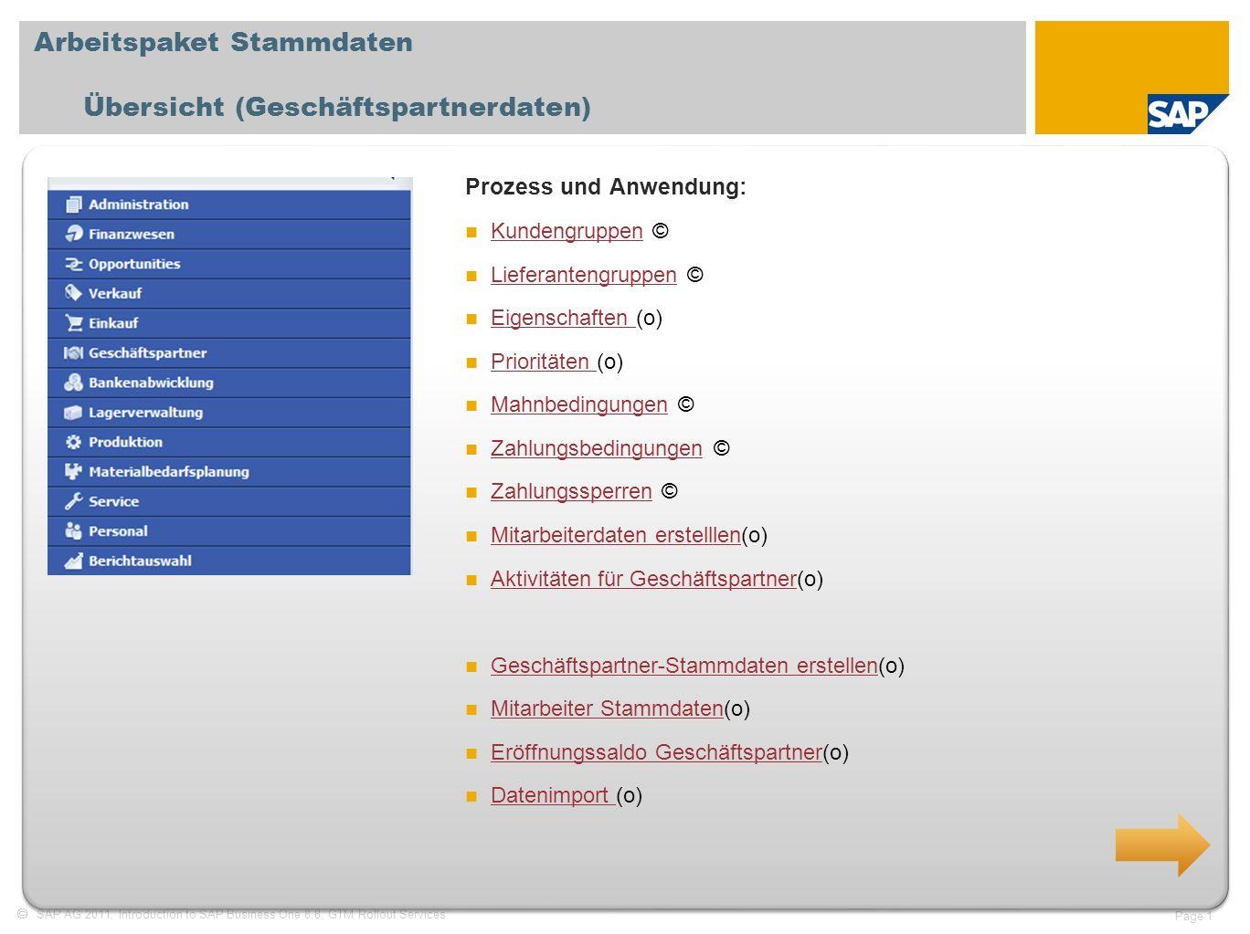 SAP AG 2011, Introduction to SAP Business One 8.8, GTM Rollout Services Page 1 Arbeitspaket Stammdaten Übersicht (Geschäftspartnerdaten) Prozess und A