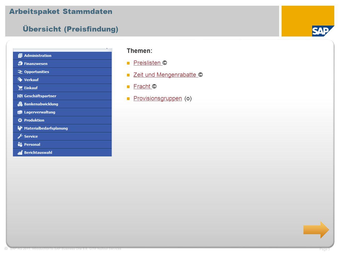 SAP AG 2011, Introduction to SAP Business One 8.8, GTM Rollout Services Page 3 Arbeitspaket Stammdaten Übersicht (Preisfindung) Themen: Preislisten ©