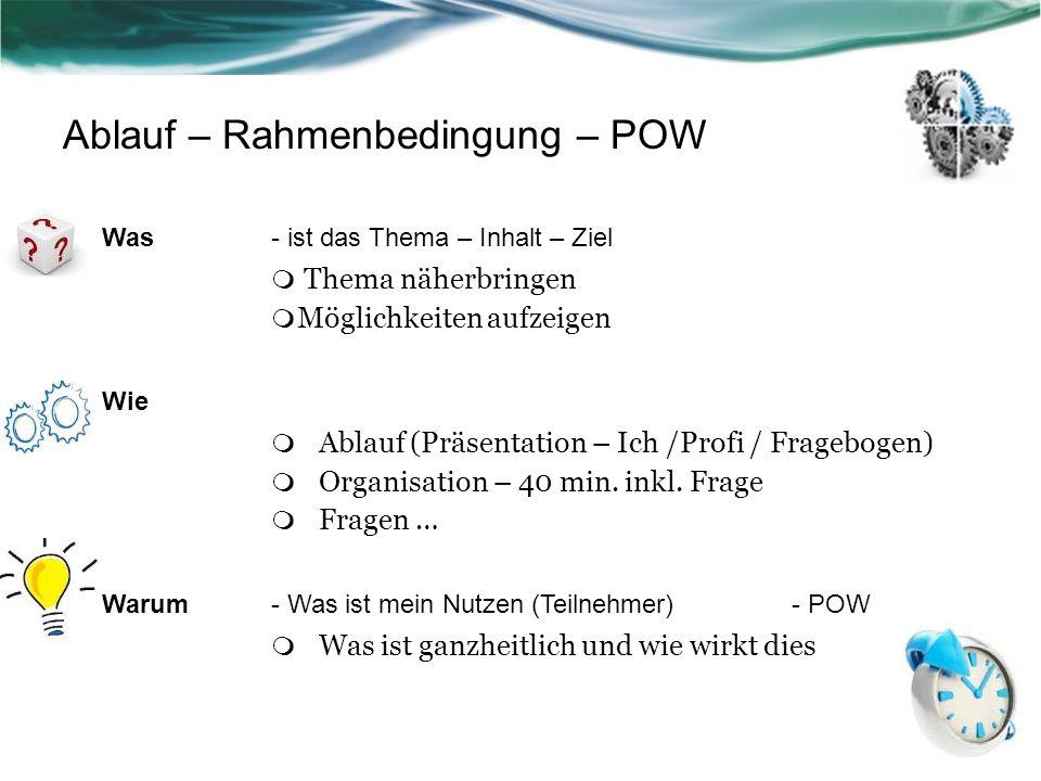 Ablauf – Rahmenbedingung – POW Was- ist das Thema – Inhalt – Ziel Thema näherbringen Möglichkeiten aufzeigen Wie Ablauf (Präsentation – Ich /Profi / F