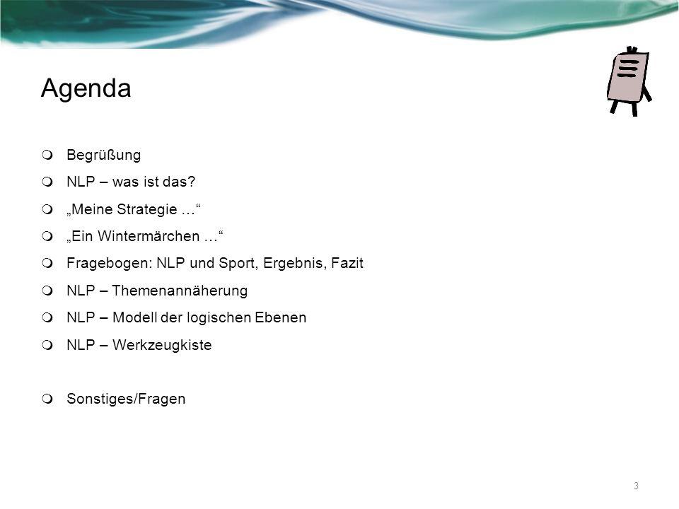 Agenda Begrüßung NLP – was ist das? Meine Strategie … Ein Wintermärchen … Fragebogen: NLP und Sport, Ergebnis, Fazit NLP – Themenannäherung NLP – Mode