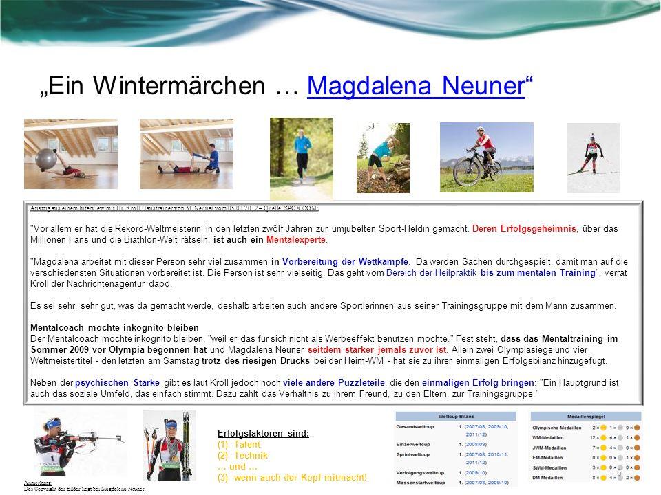 Ein Wintermärchen … Magdalena NeunerMagdalena Neuner Auszug aus einem Interview mit Hr. Kröll Haustrainer von M. Neuner vom 05.03.2012 – Quelle: SPOX.