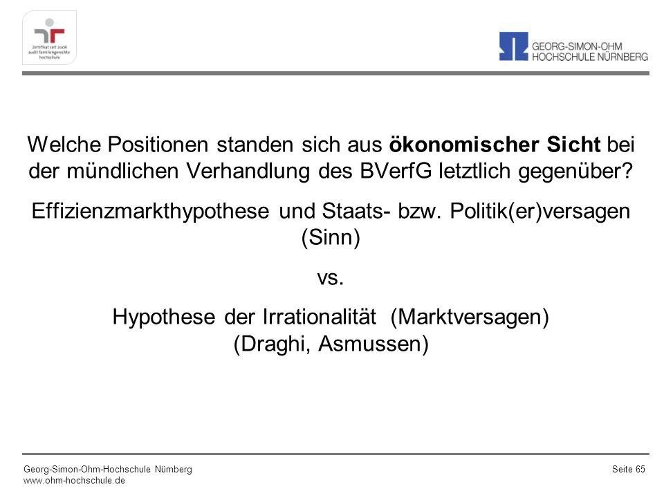 Schweizer Franken: Ein weiteres Beispiel für eine (erfolgreiche) Intervention (seit September 2012 musste die SNB nicht mehr intervenieren) Georg-Simon-Ohm-Hochschule Nürnberg www.ohm-hochschule.de Seite 66