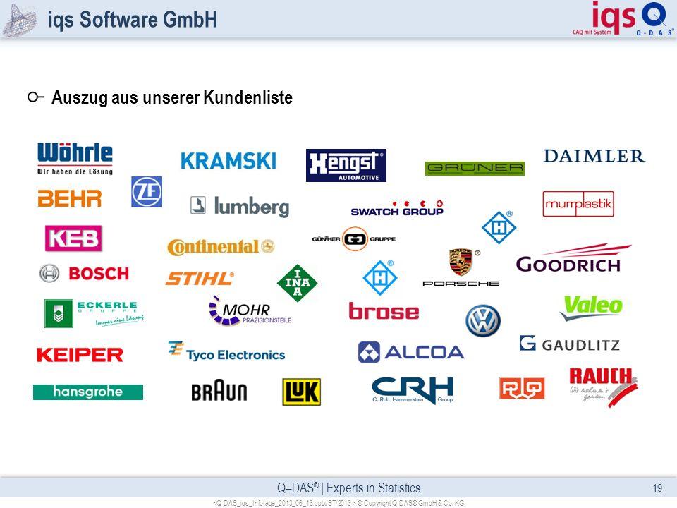 Q–DAS ® | Experts in Statistics iqs Software GmbH 19 © Copyright Q-DAS® GmbH & Co. KG Auszug aus unserer Kundenliste