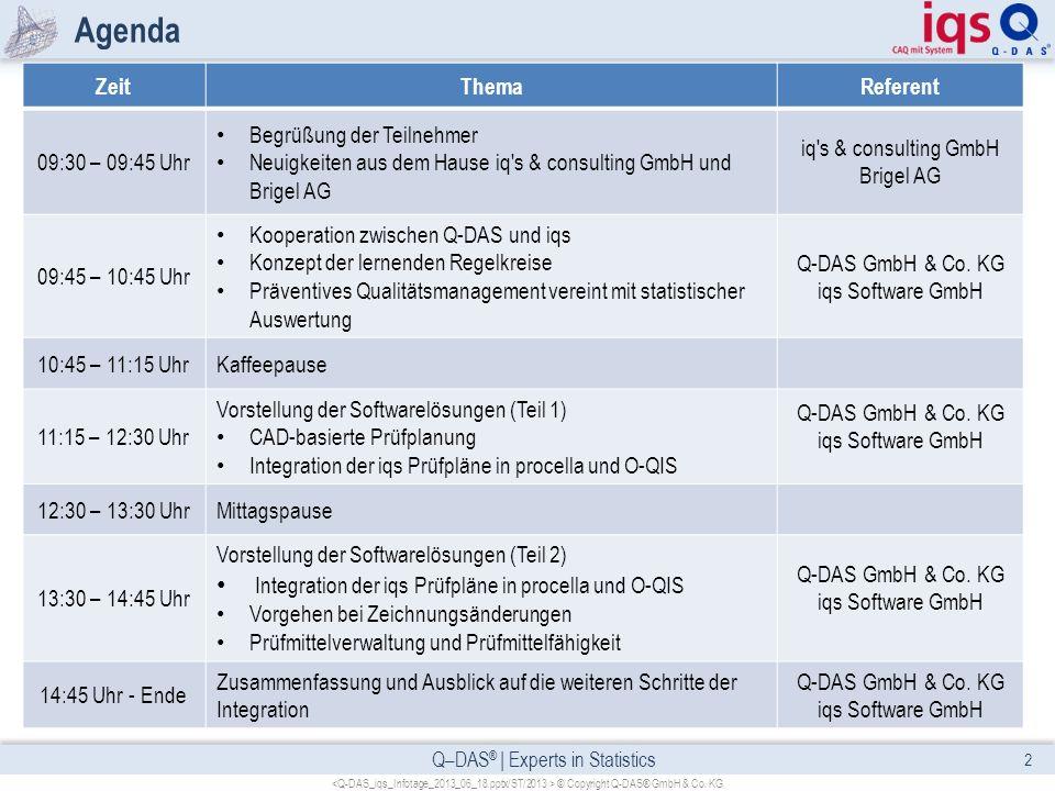 Q–DAS ® | Experts in Statistics Agenda 2 © Copyright Q-DAS® GmbH & Co. KG ZeitThemaReferent 09:30 – 09:45 Uhr Begrüßung der Teilnehmer Neuigkeiten aus