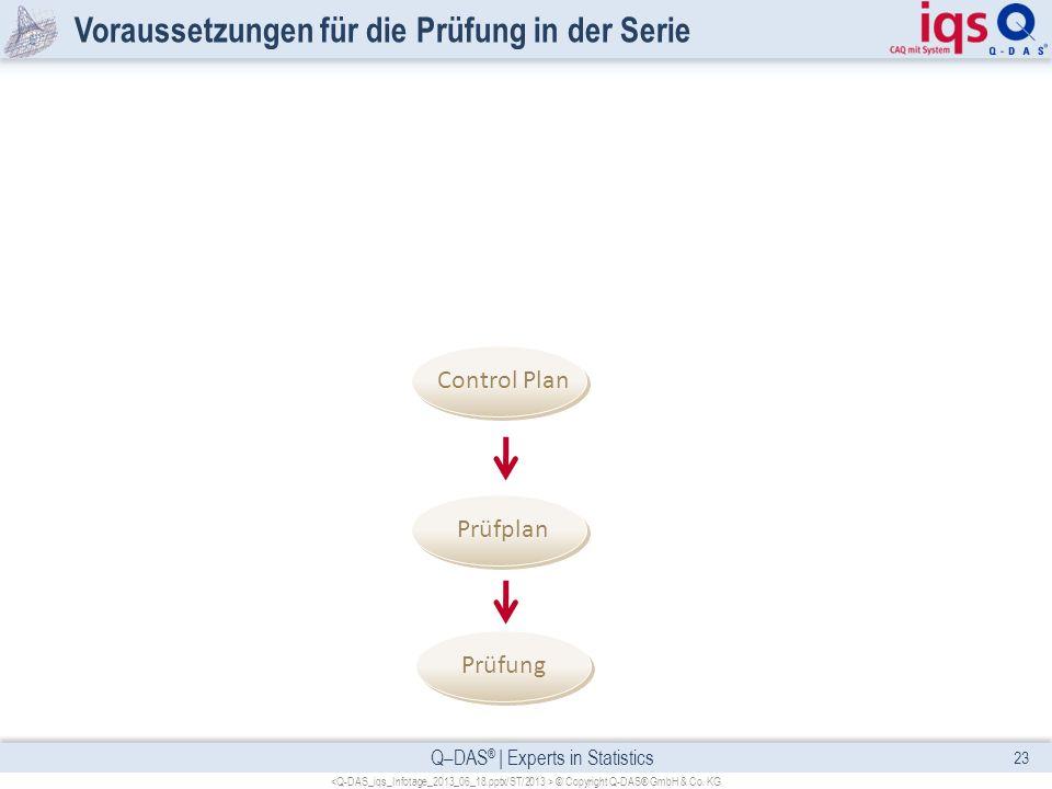 Q–DAS ® | Experts in Statistics Voraussetzungen für die Prüfung in der Serie 23 © Copyright Q-DAS® GmbH & Co. KG Prüfung Prüfplan Control Plan