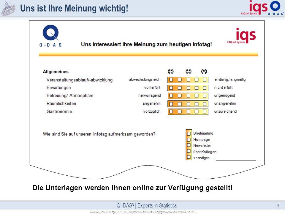 Q–DAS ® | Experts in Statistics Uns ist Ihre Meinung wichtig! 3 © Copyright Q-DAS® GmbH & Co. KG Die Unterlagen werden Ihnen online zur Verfügung gest
