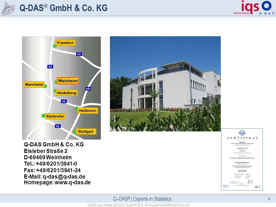 Q–DAS ® | Experts in Statistics Q-DAS ® GmbH & Co. KG 4 © Copyright Q-DAS® GmbH & Co. KG Q-DAS GmbH & Co. KG Eisleber Straße 2 D-69469 Weinheim Tel.: