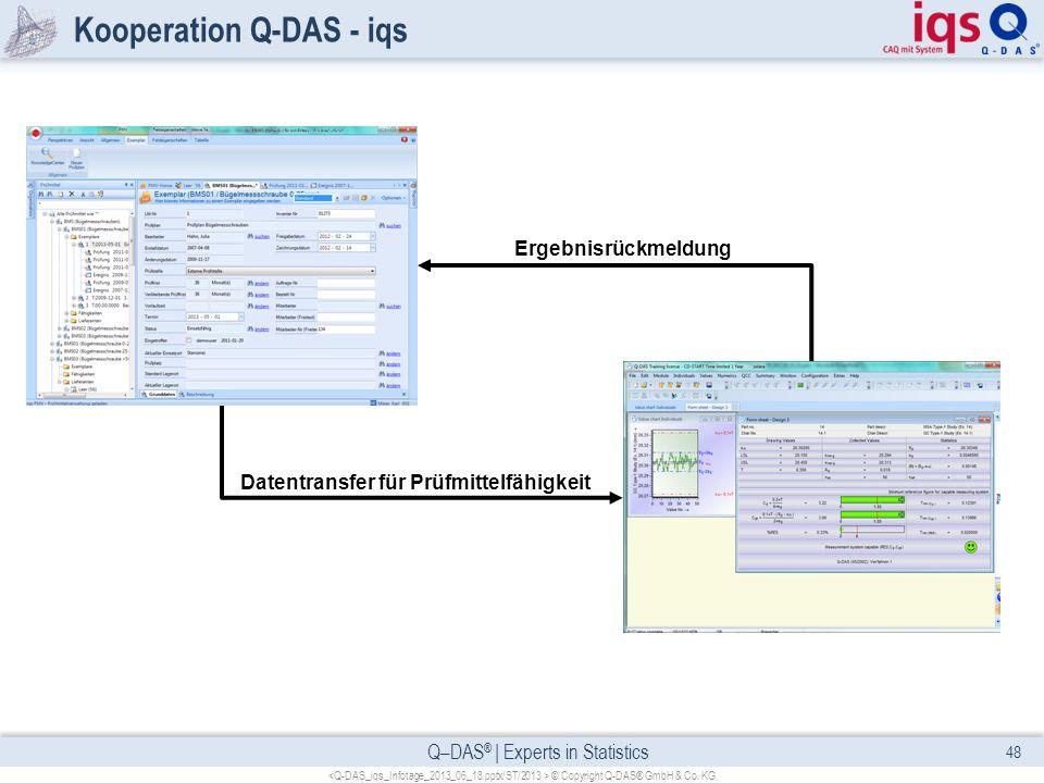 Q–DAS ® | Experts in Statistics Kooperation Q-DAS - iqs 48 © Copyright Q-DAS® GmbH & Co. KG Datentransfer für Prüfmittelfähigkeit Ergebnisrückmeldung