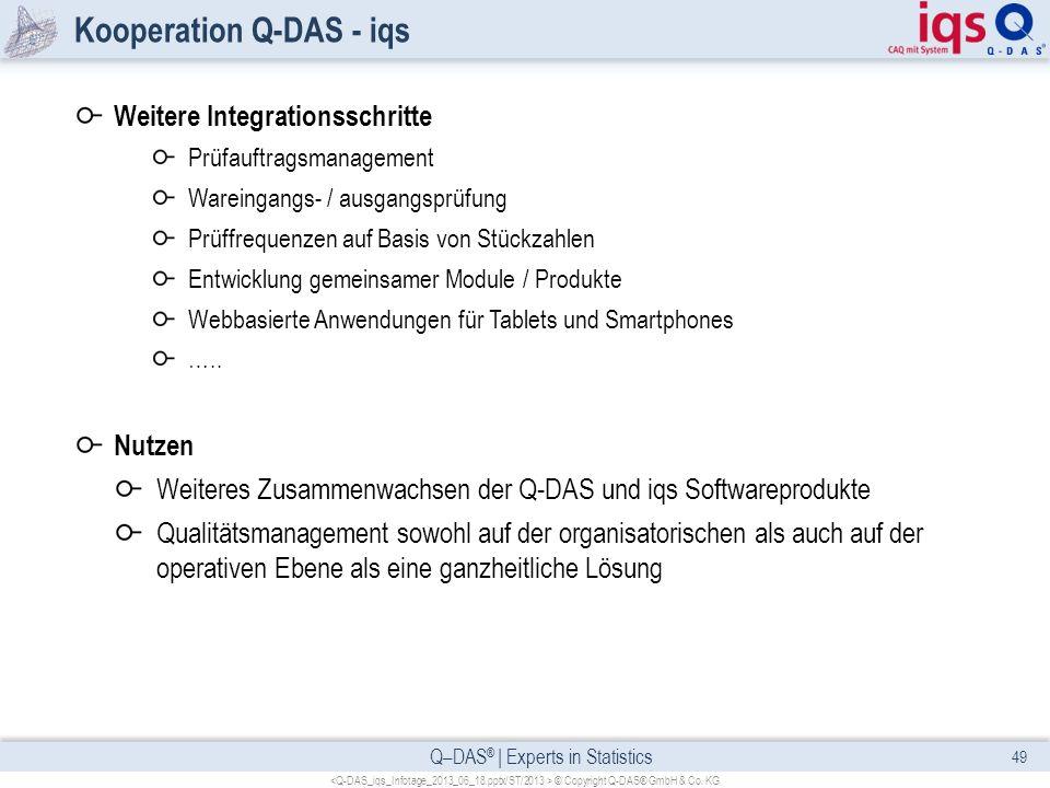Q–DAS ® | Experts in Statistics Kooperation Q-DAS - iqs Weitere Integrationsschritte Prüfauftragsmanagement Wareingangs- / ausgangsprüfung Prüffrequen
