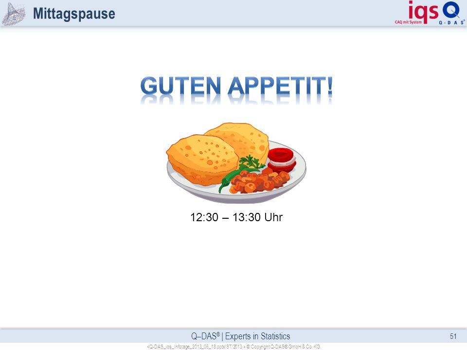 Q–DAS ® | Experts in Statistics Mittagspause 51 © Copyright Q-DAS® GmbH & Co. KG 12:30 – 13:30 Uhr