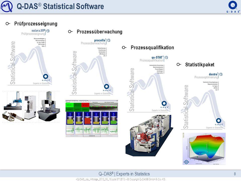 Q–DAS ® | Experts in Statistics Q-DAS ® Statistical Software © Copyright Q-DAS® GmbH & Co. KG 8 Prozessüberwachung Prozessqualifikation Statistikpaket