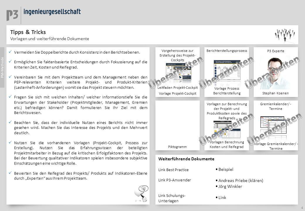 Tipps & Tricks Vorlagen und weiterführende Dokumente Weiterführende Dokumente Link Best Practice Link P3-Anwender Link Schulungs- Unterlagen P3 Expert