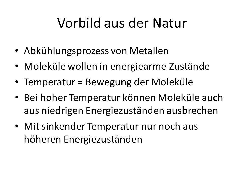 Vorbild aus der Natur Abkühlungsprozess von Metallen Moleküle wollen in energiearme Zustände Temperatur = Bewegung der Moleküle Bei hoher Temperatur können Moleküle auch aus niedrigen Energiezuständen ausbrechen Mit sinkender Temperatur nur noch aus höheren Energiezuständen