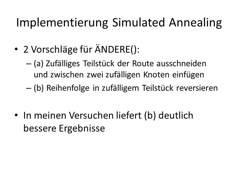 2 Vorschläge für ÄNDERE(): – (a) Zufälliges Teilstück der Route ausschneiden und zwischen zwei zufälligen Knoten einfügen – (b) Reihenfolge in zufälligem Teilstück reversieren In meinen Versuchen liefert (b) deutlich bessere Ergebnisse