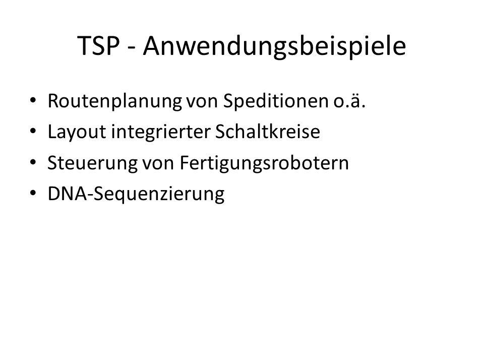 TSP - Anwendungsbeispiele Routenplanung von Speditionen o.ä.