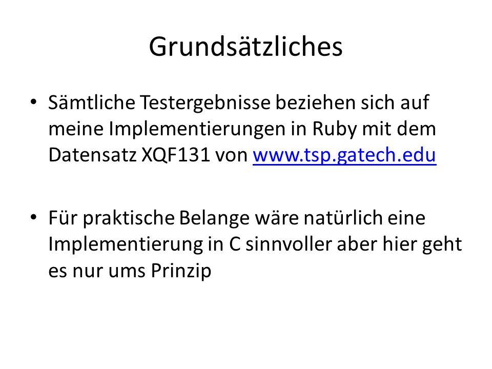 Grundsätzliches Sämtliche Testergebnisse beziehen sich auf meine Implementierungen in Ruby mit dem Datensatz XQF131 von www.tsp.gatech.eduwww.tsp.gatech.edu Für praktische Belange wäre natürlich eine Implementierung in C sinnvoller aber hier geht es nur ums Prinzip