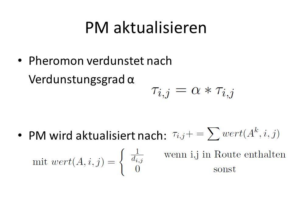 PM aktualisieren Pheromon verdunstet nach Verdunstungsgrad α PM wird aktualisiert nach:
