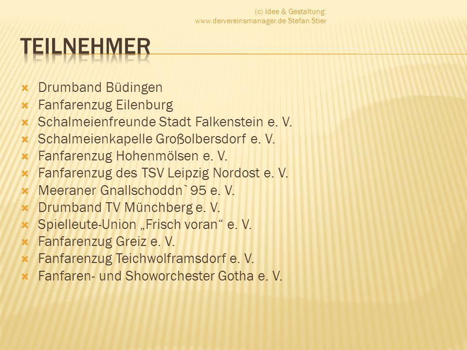 Drumband Büdingen Fanfarenzug Eilenburg Schalmeienfreunde Stadt Falkenstein e. V. Schalmeienkapelle Großolbersdorf e. V. Fanfarenzug Hohenmölsen e. V.