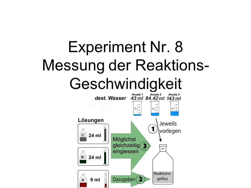 Experiment Nr. 8 Messung der Reaktions- Geschwindigkeit